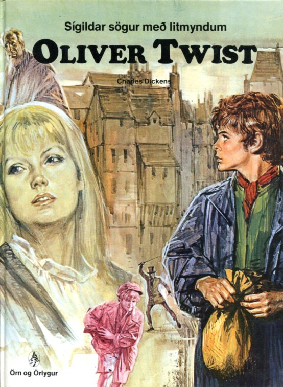 Oliver Twist sigildar sögur með litmyndum. Framhlið