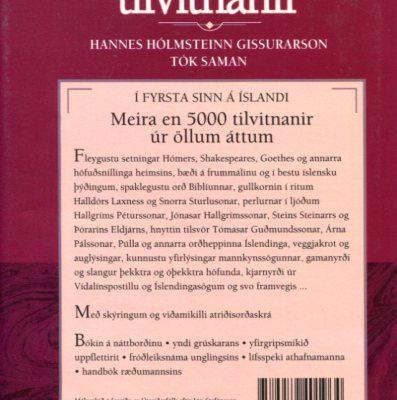 Íslenskar tilvitnanir bakhlið