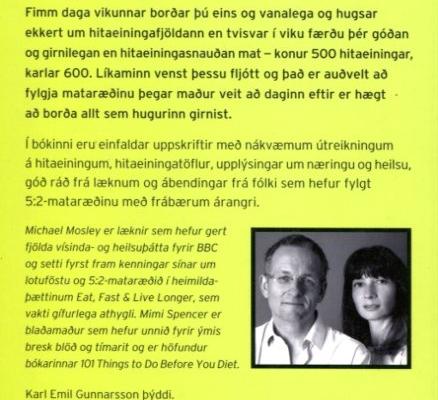 5:2 mataræðið - einföld leið til að léttast - baksíða