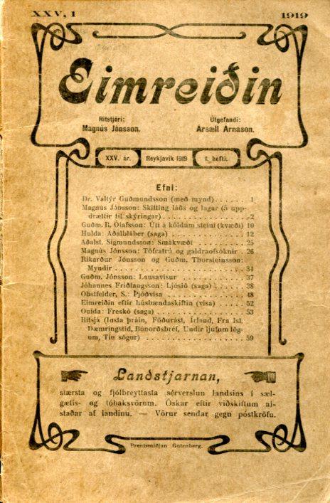 Eimreiðin, 1919, 1 tbl