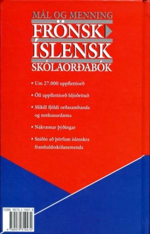 Frönsk íslensk skólaorðabók (bakhlið)